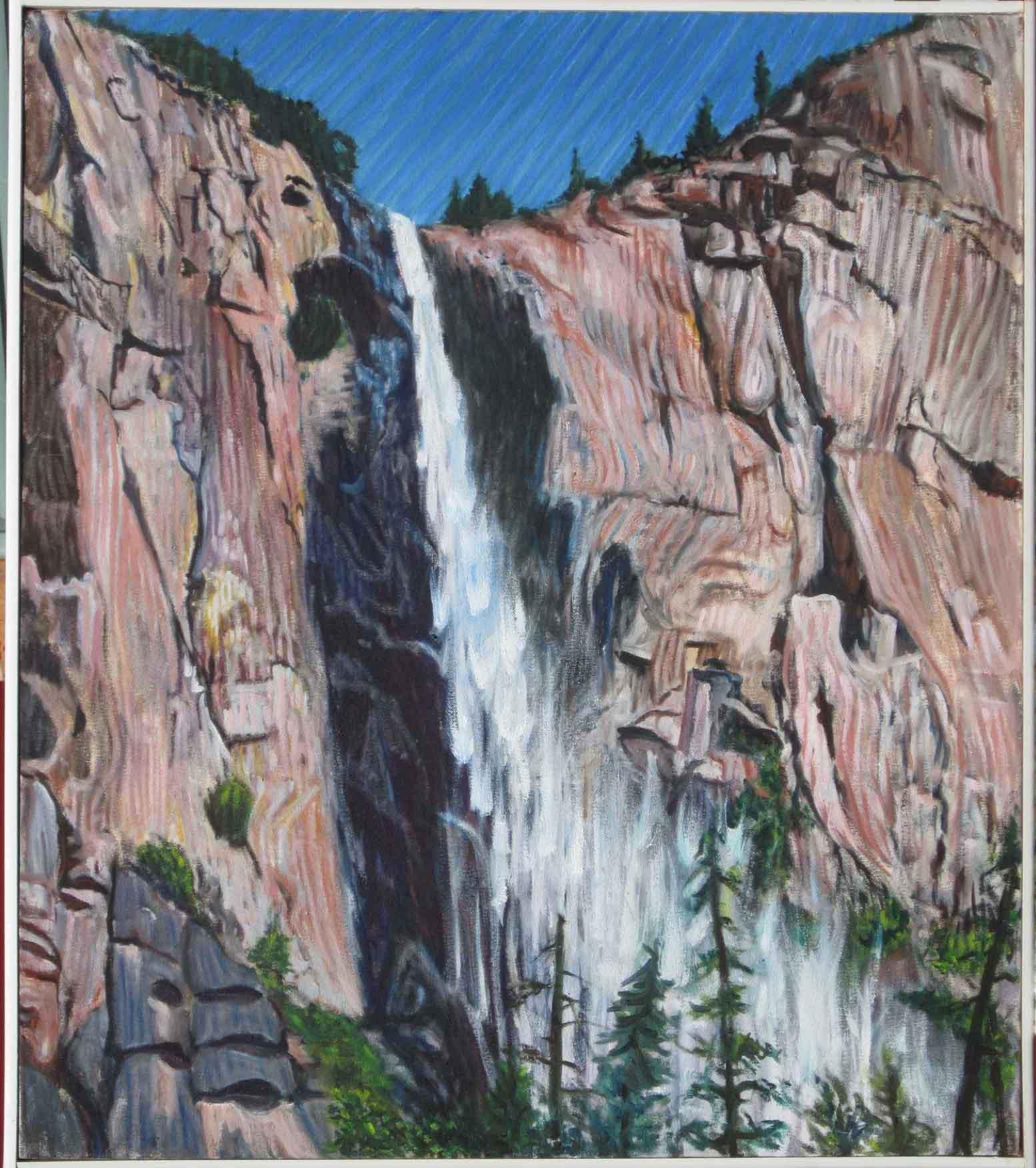 Bridalveil Falls - Linear Painting - Prakash N Chandras