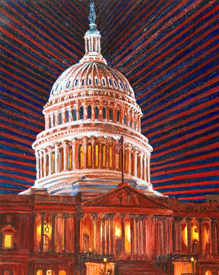 Capitol Dome at Night - Linear Painting by Prakash N Chandras