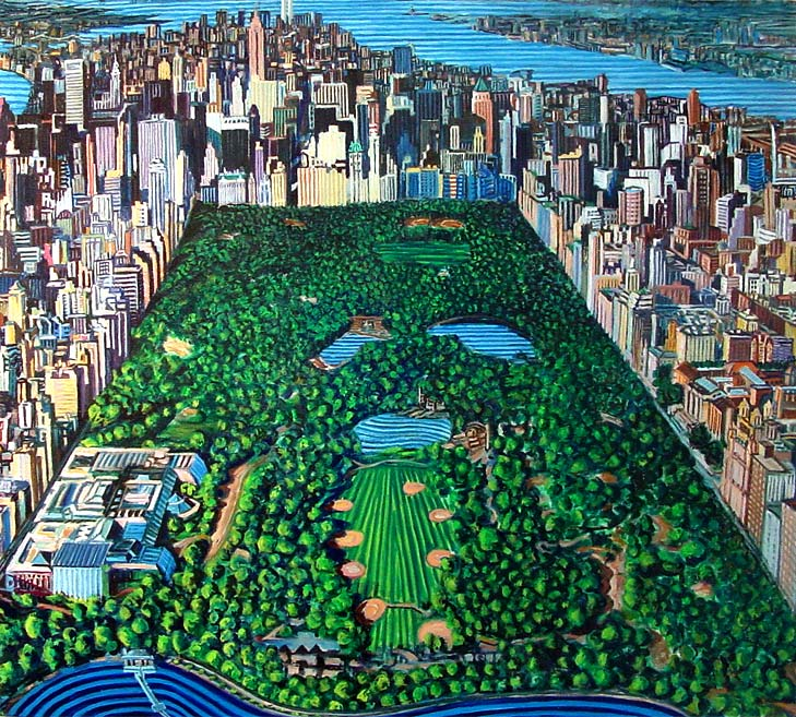 Central Park from the air - Linear Painting by Prakash N Chandras