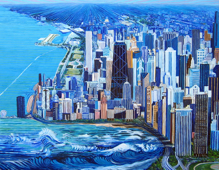 Chicago with lakeshore drive - Linear Painting by Prakash N Chandras