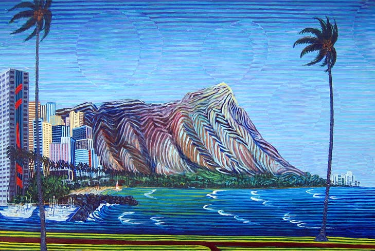 Diamondhead, Hawaii - Linear Painting by Prakash N Chandras