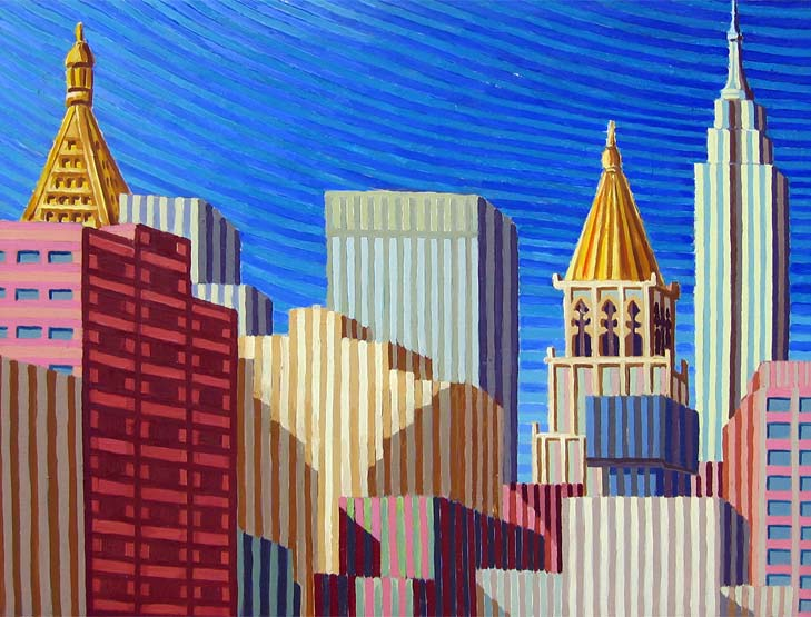 The Empire State from The Roof - Linear Painting by Prakash N Chandras