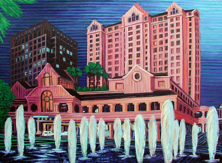 The Fairmont, San Jose - Linear Painting by Prakash N Chandras