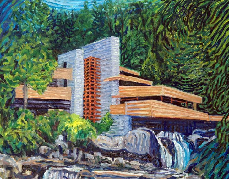 Falling waters by Frank Lloyd Wright - Linear Painting by Prakash N Chandras