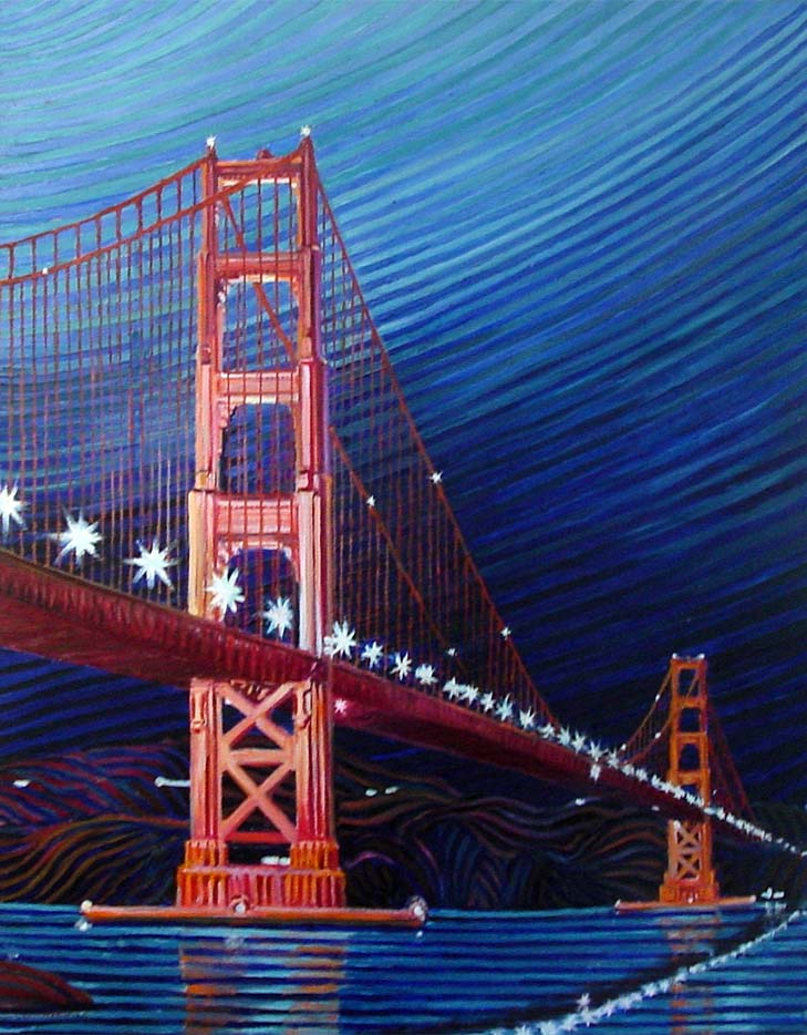 Golden gate bridge at night - Linear Painting by Prakash N Chandras