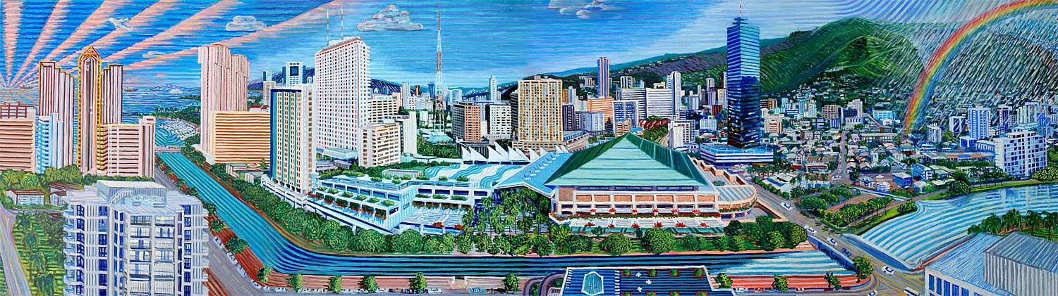 Honolulu from the 25th Floor - Linear Painting by Prakash N Chandras