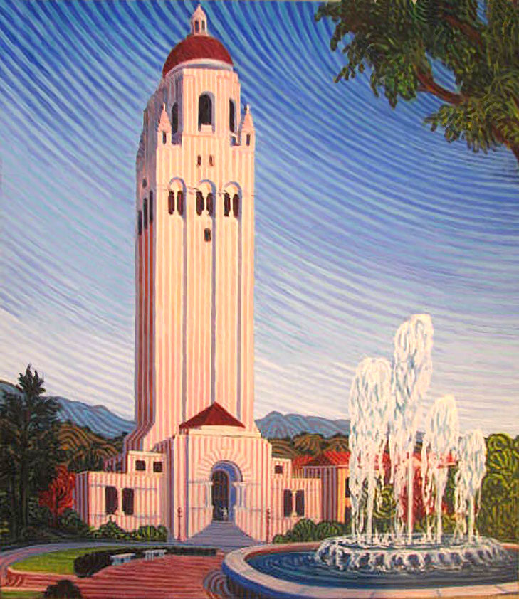 Hoover Tower - Linear Painting by Prakash N Chandras