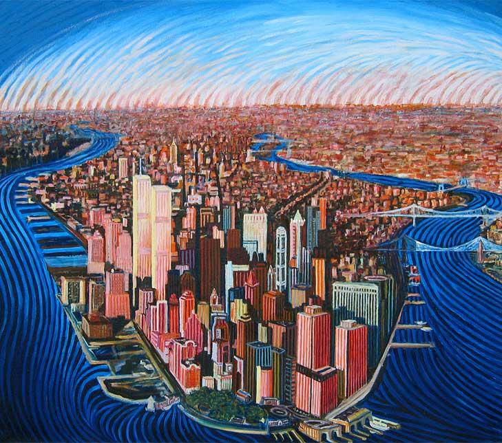 Lower Manhattan - Linear Painting by Prakash N Chandras
