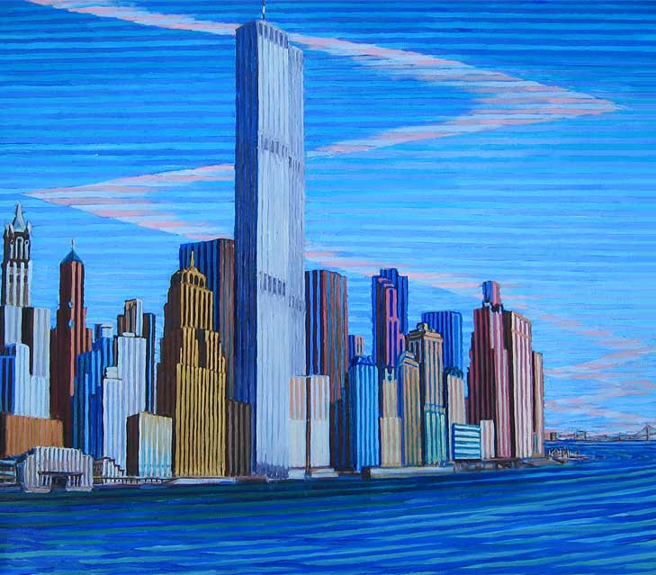 Lower Manhattan from Hobokan, N.J. - Linear Painting by Prakash N Chandras