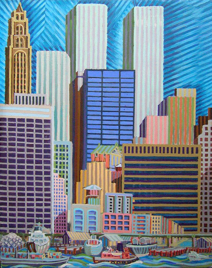 Lower Manhattan from Brooklyn Promenades - Linear Painting by Prakash N Chandras