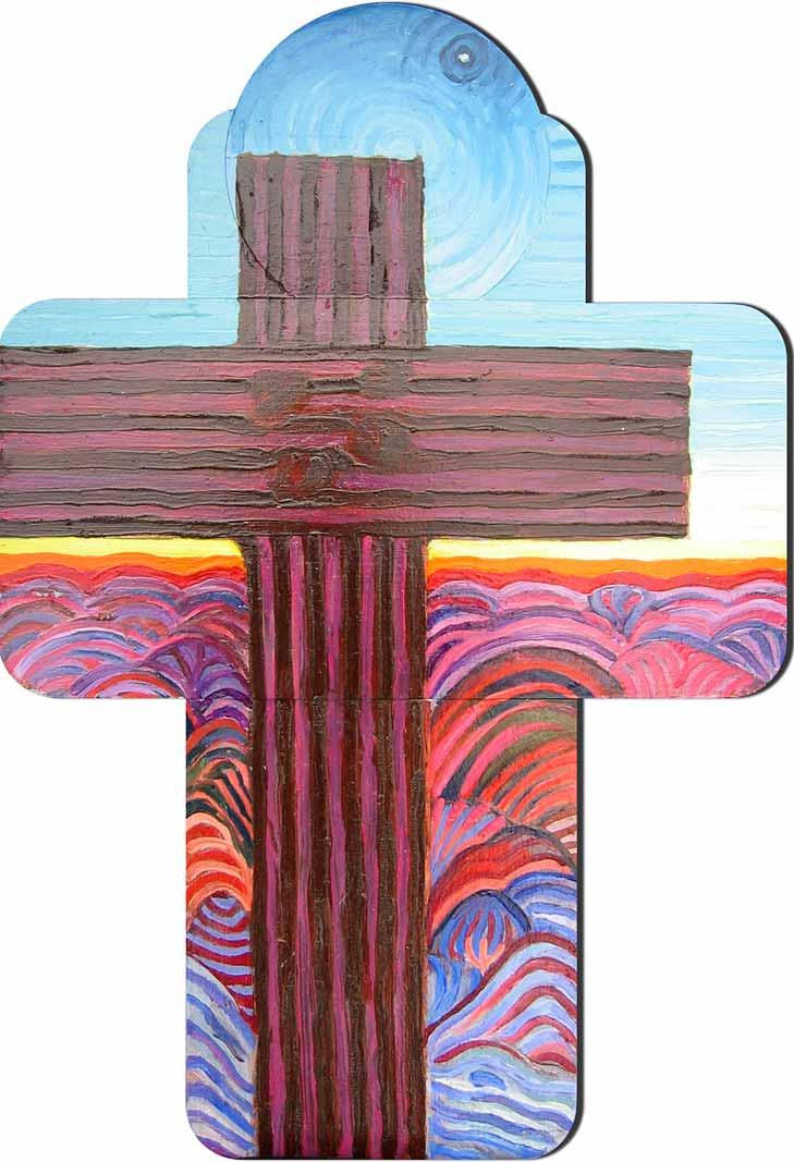 New Mexico Black Cross - Linear Painting by Prakash N Chandras