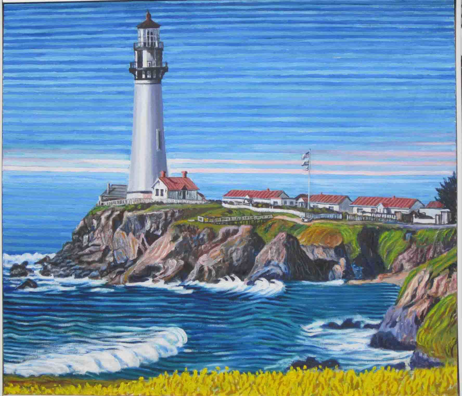 Pigeon point lighthouse - Linear Painting - Prakash N Chandras