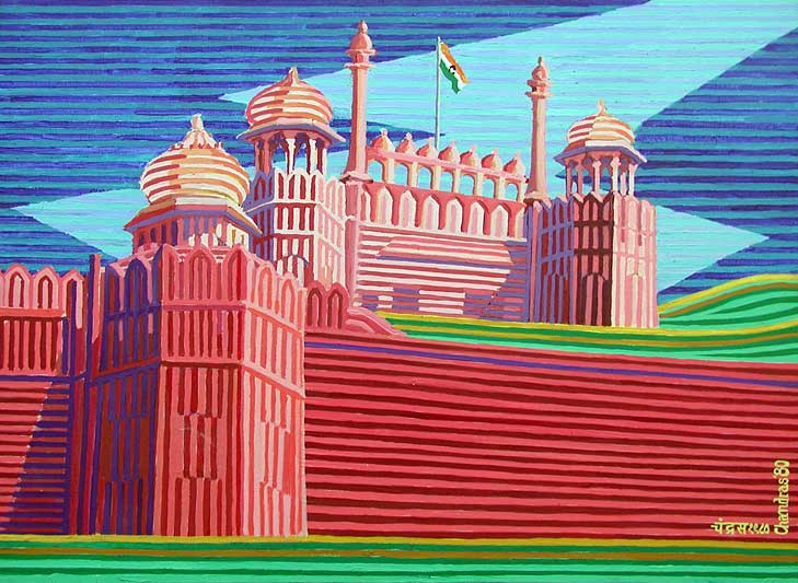 The Red Fort - New Delhi - Linear Painting by Prakash N Chandras