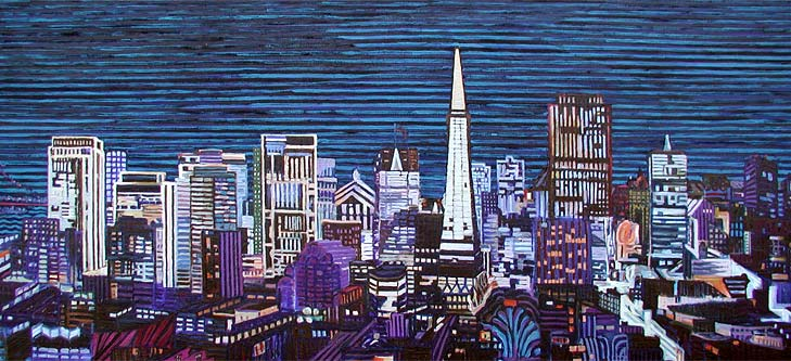 San Francisco Christmas Skyline - Linear Painting by Prakash N Chandras