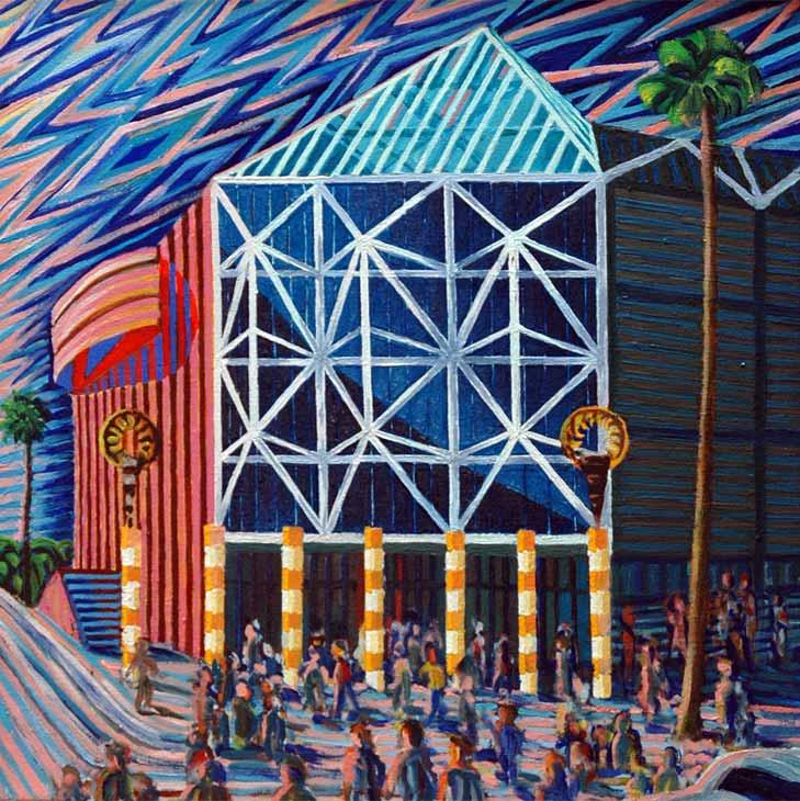 San Jose Arena - Linear Painting by Prakash N Chandras
