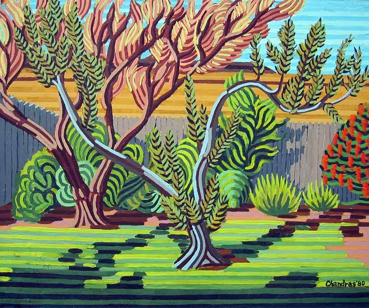 San Jose Backyard - Linear Painting by Prakash N Chandras