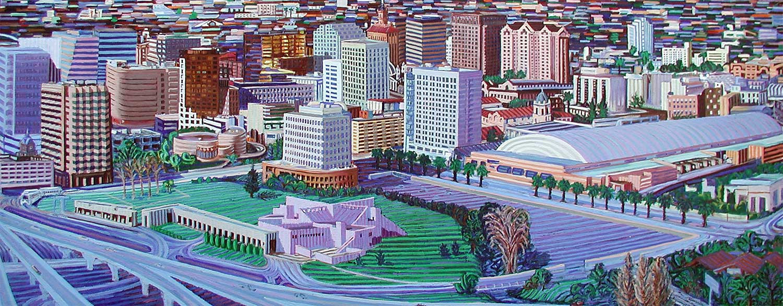 San Jose Cityscape - Linear Painting by Prakash N Chandras