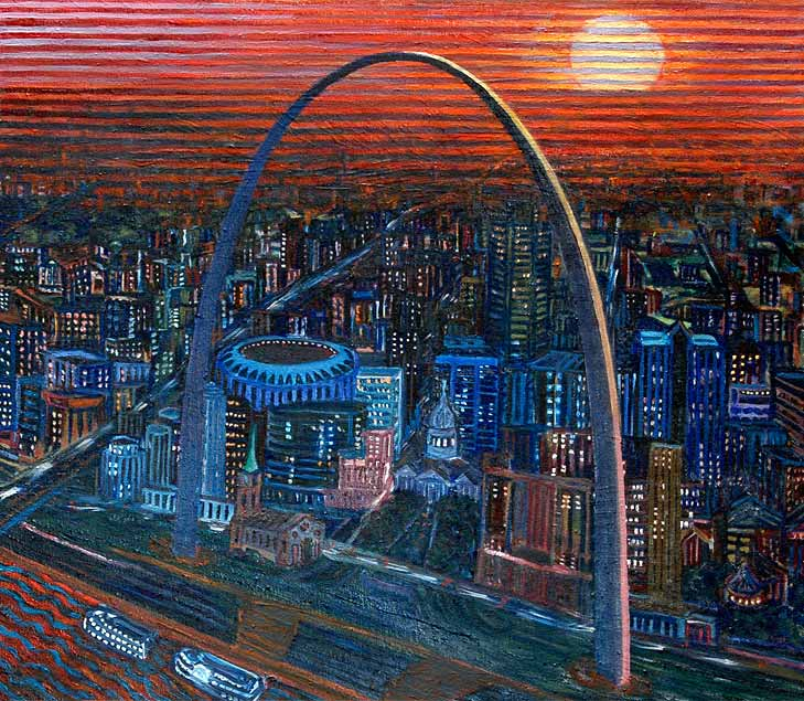 St. Louis Arch - Linear Painting by Prakash N Chandras