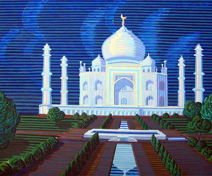 The Taj Mahal in the Moonlight - Linear Painting by Prakash N Chandras