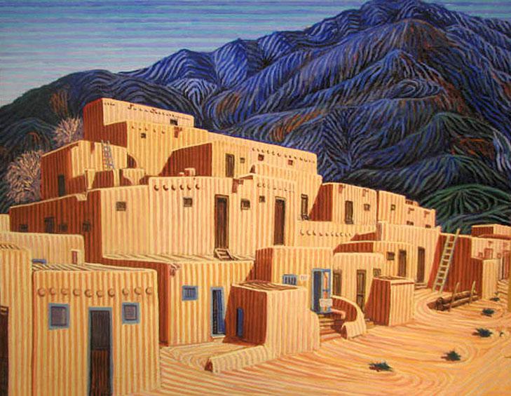 Taos - Linear Painting by Prakash N Chandras