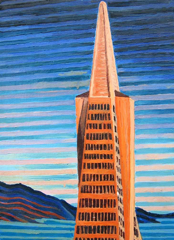 The Transamerica Building, San Fransisco - Linear Painting by Prakash N Chandras