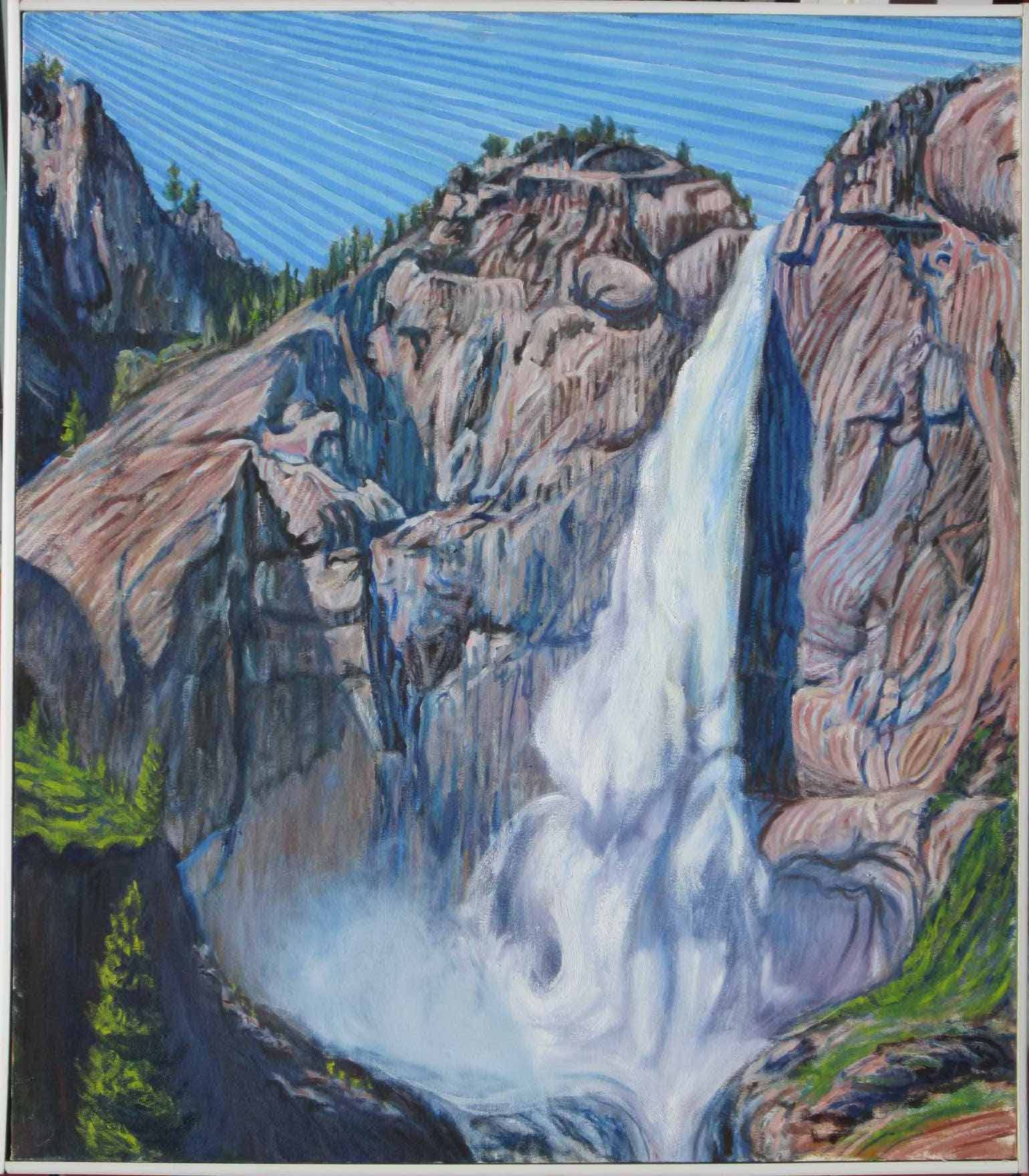 Upper Yosemite Falls - Linear Painting - Prakash N Chandras